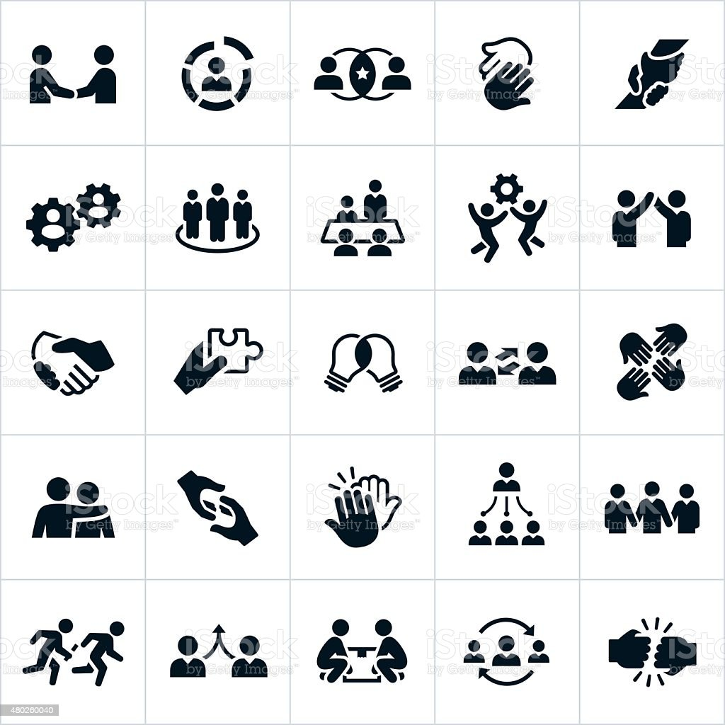Business Teamwork Icons vector art illustration