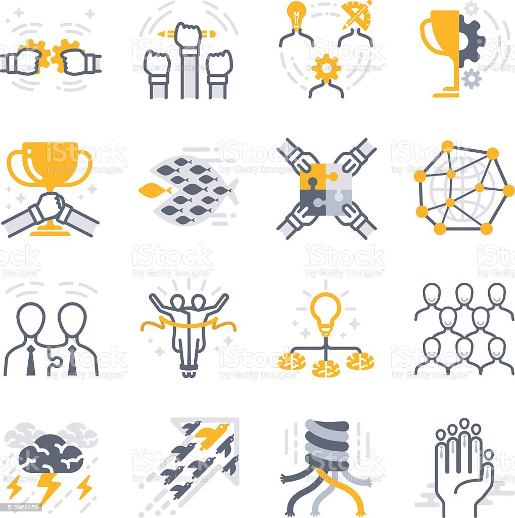 Business teamwork icons vector art illustration