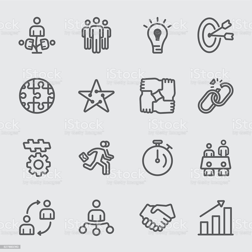 Business teamwork line icon vector art illustration
