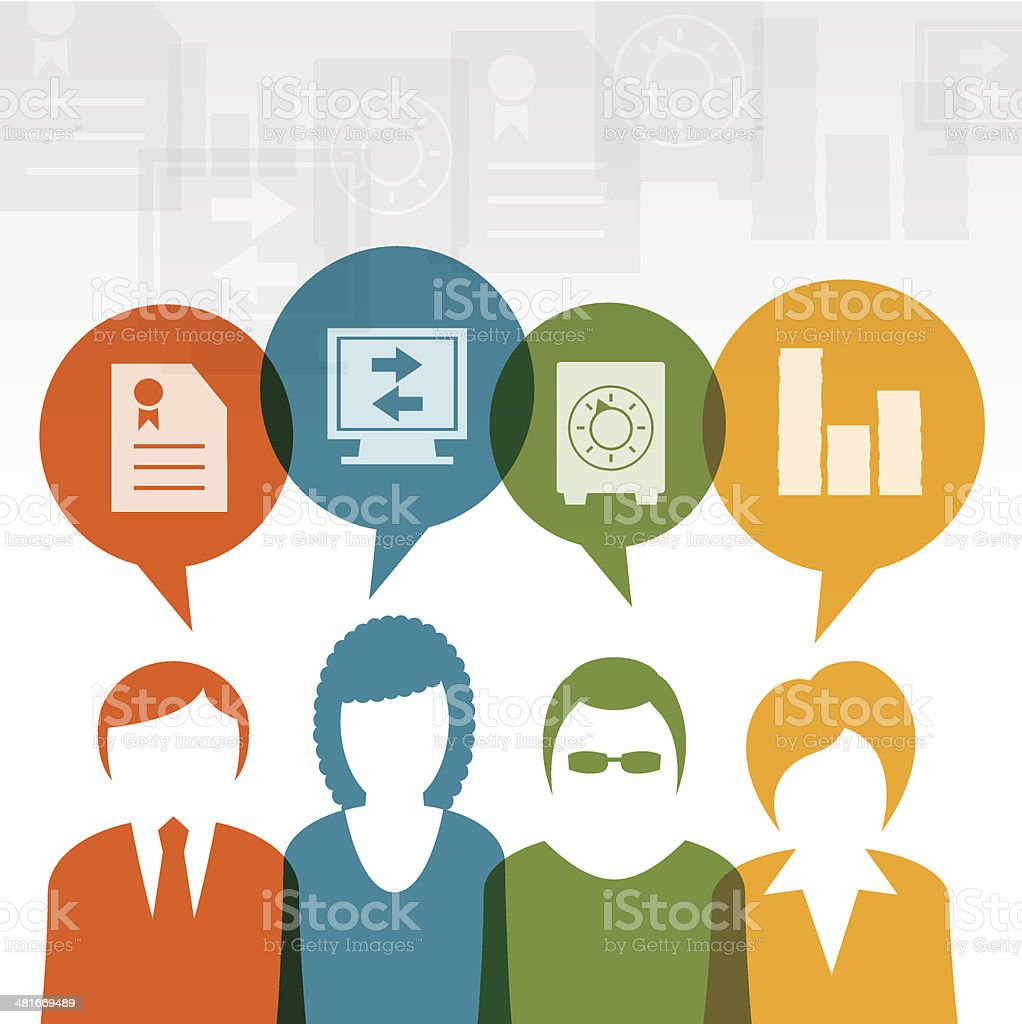 Business teamwork money talk vector art illustration