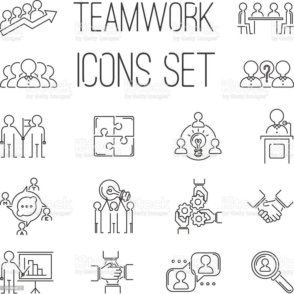 Business teamwork teambuilding outline icons vector art illustration