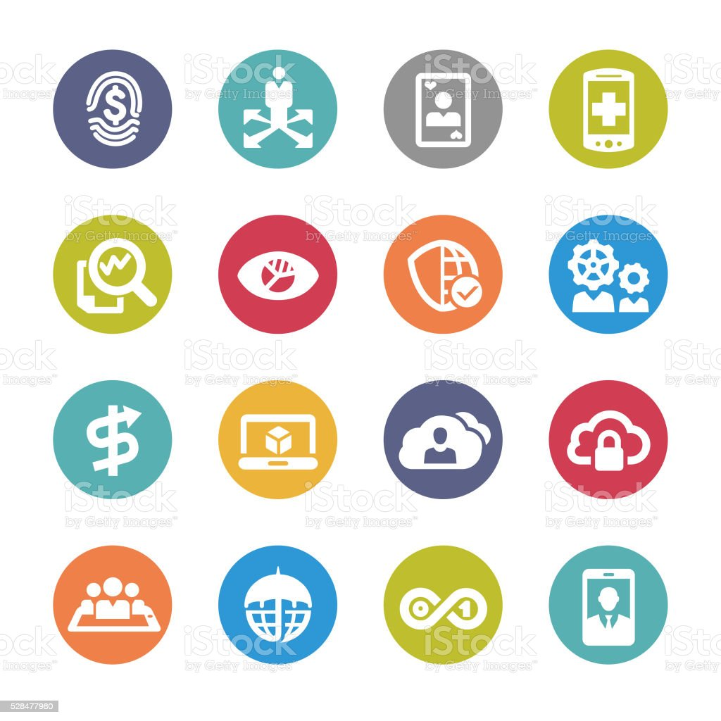 Business Technology Trends Icons - Circle Series vector art illustration