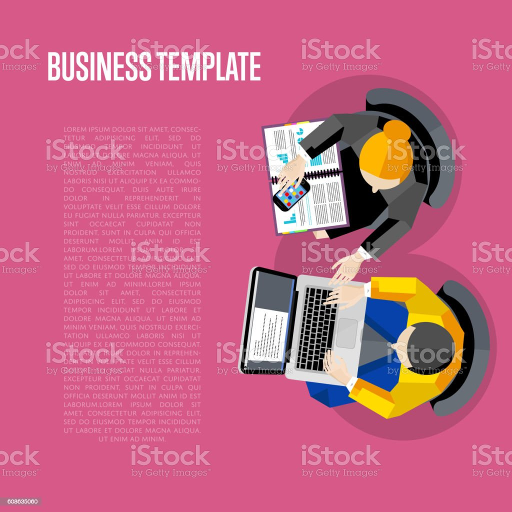 Business template. Top view workspace background vector art illustration
