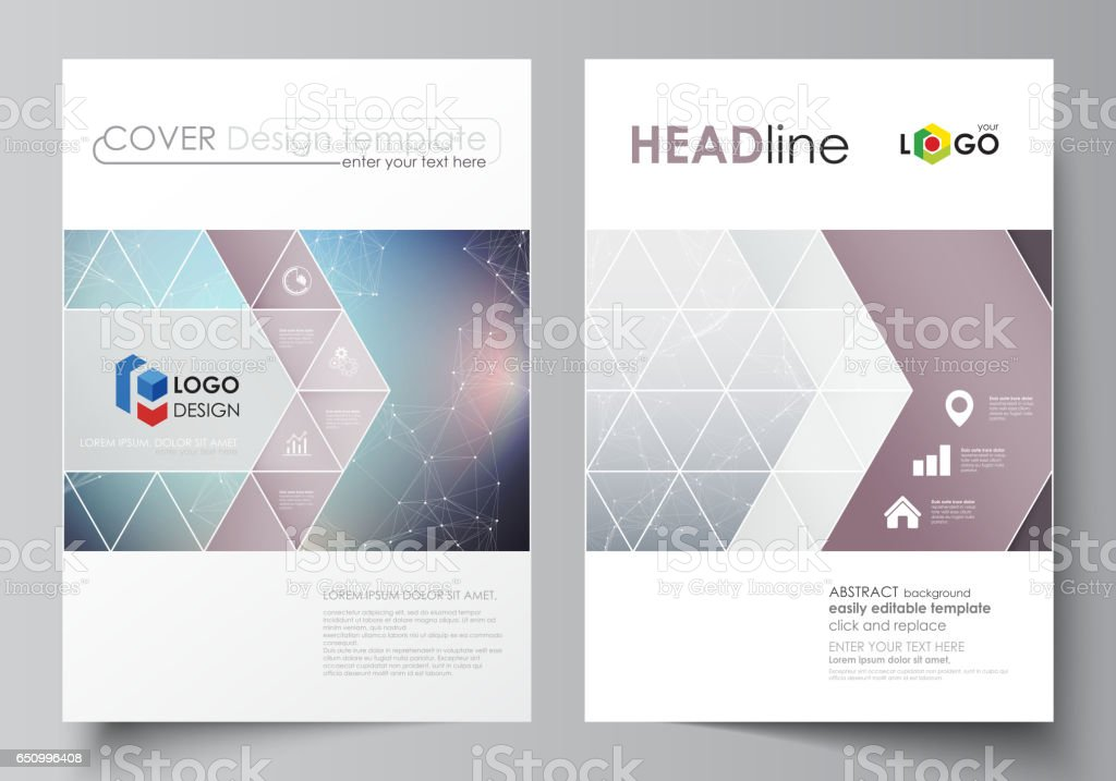 Business templates for brochure, magazine, flyer. Cover design template, vector layout in A4 size. Compounds lines and dots. Big data visualization in minimal style. Graphic communication background vector art illustration
