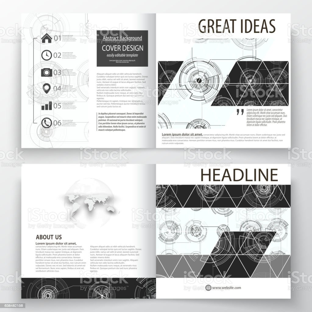 Business templates for square bi fold brochure, magazine, flyer. Leaflet vector art illustration