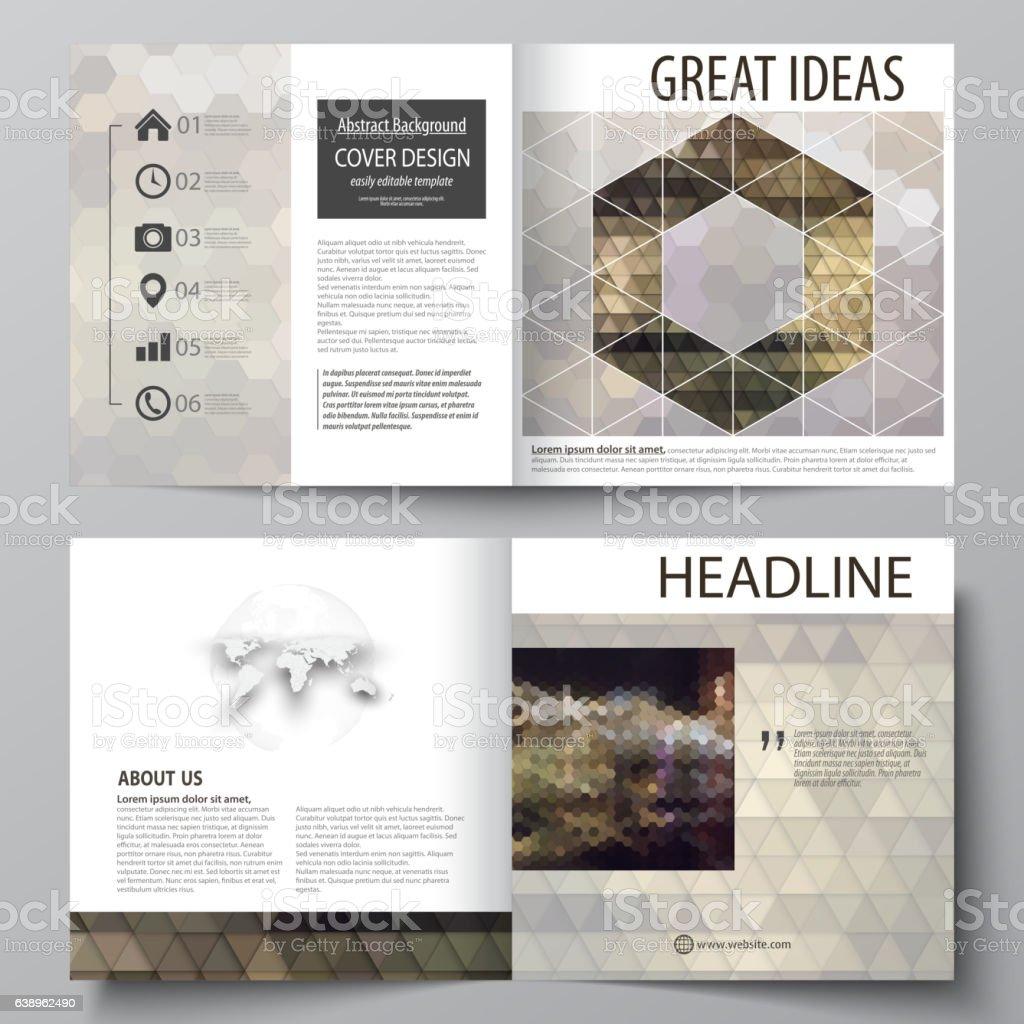 Business templates for square design bi fold brochure, flyer, booklet vector art illustration