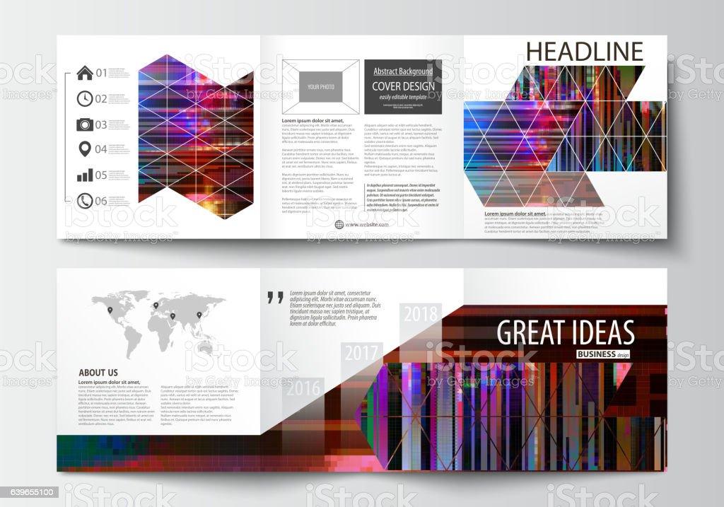 Business templates for tri fold brochures. Square design. Leaflet...