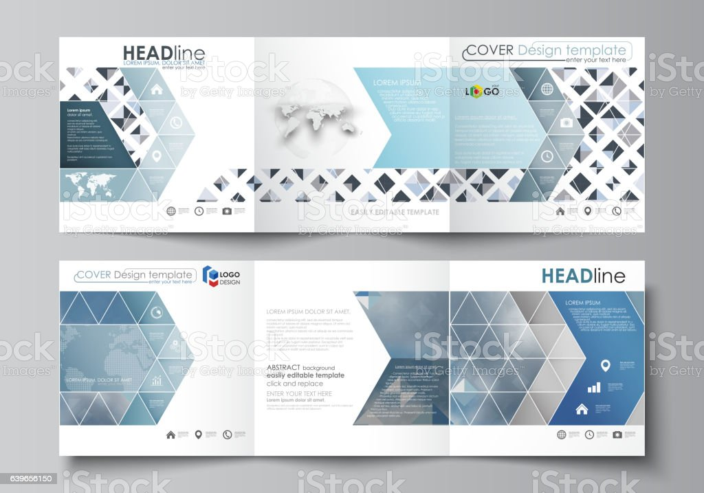 Business templates for tri fold square brochures. Leaflet cover, flat vector art illustration