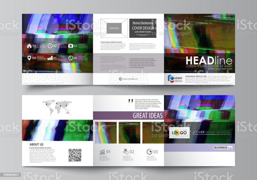 Set of business templates for tri fold square design brochures....