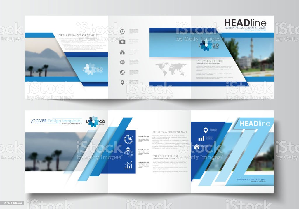 Business templates for tri-fold brochures, square design, annual report vector art illustration