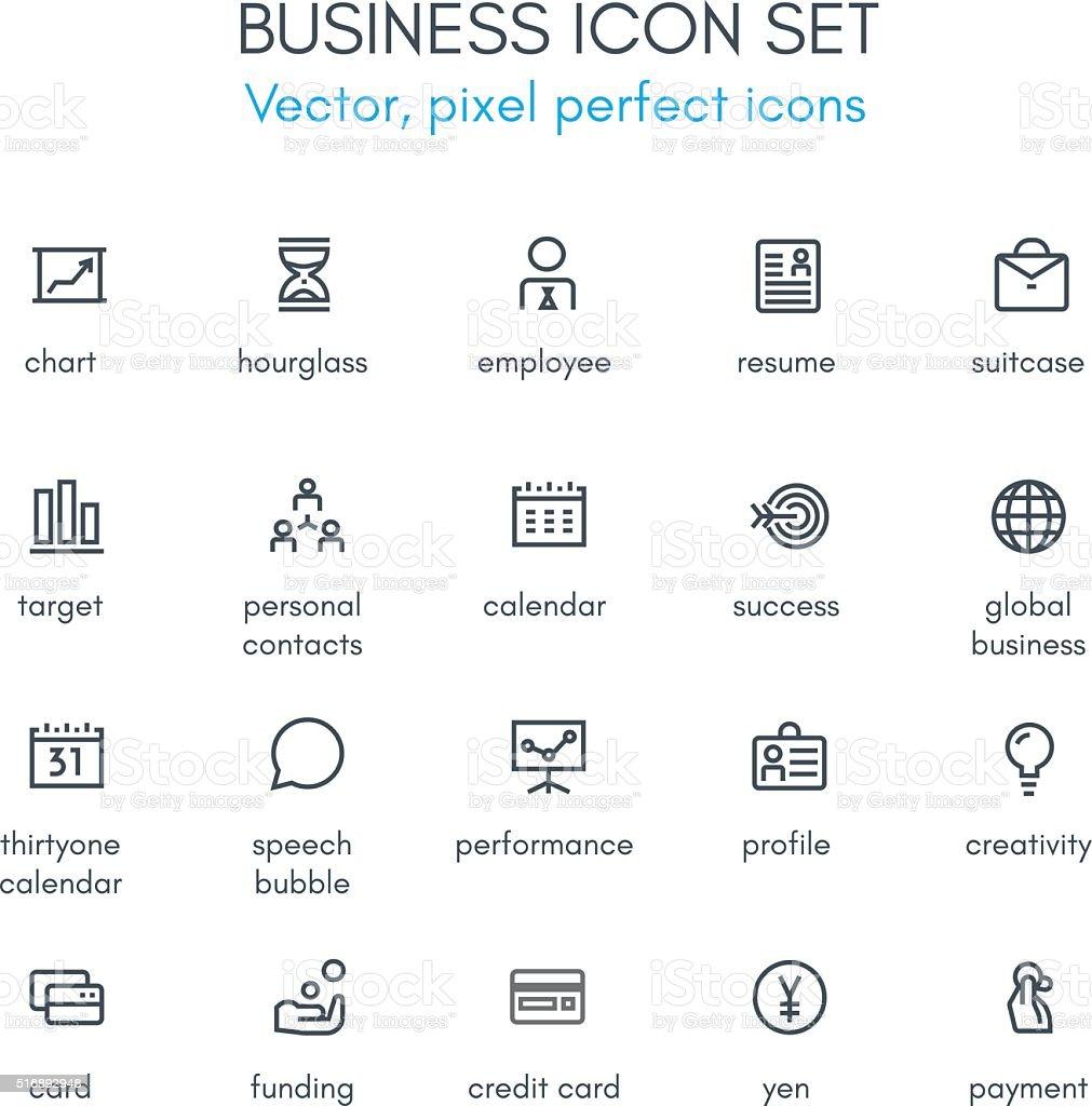 Business theme line icon set vector art illustration