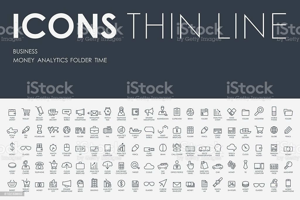 business Thin Line Icons royalty-free stock vector art