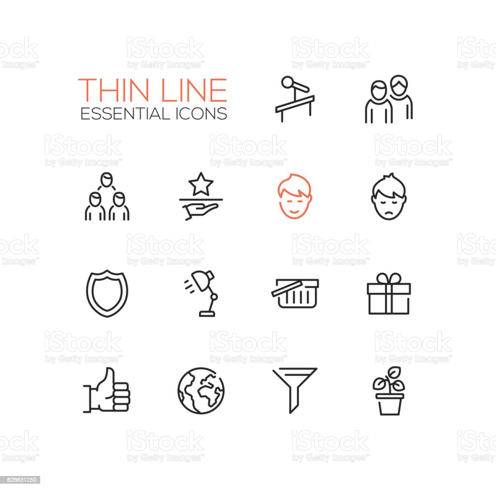 Business - Thin Single Line Icons Set vector art illustration