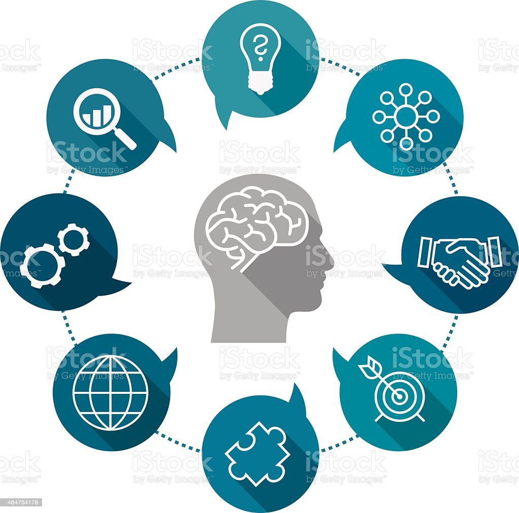 Business Thinking Icon Set vector art illustration
