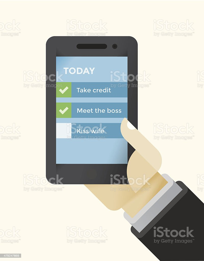 Business To Do List on mobile phone in businessman hand royalty-free stock vector art