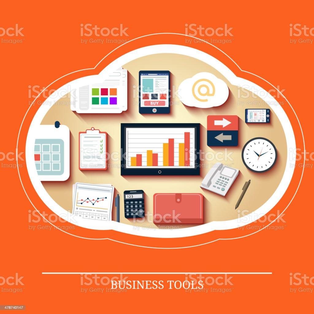 Business tools in flat design vector art illustration