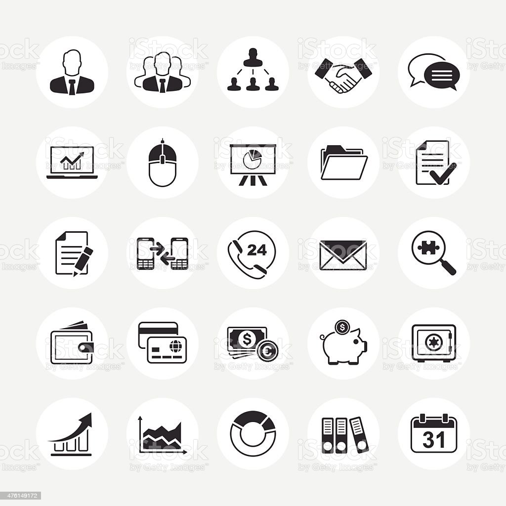 Business total vector icon set vector art illustration