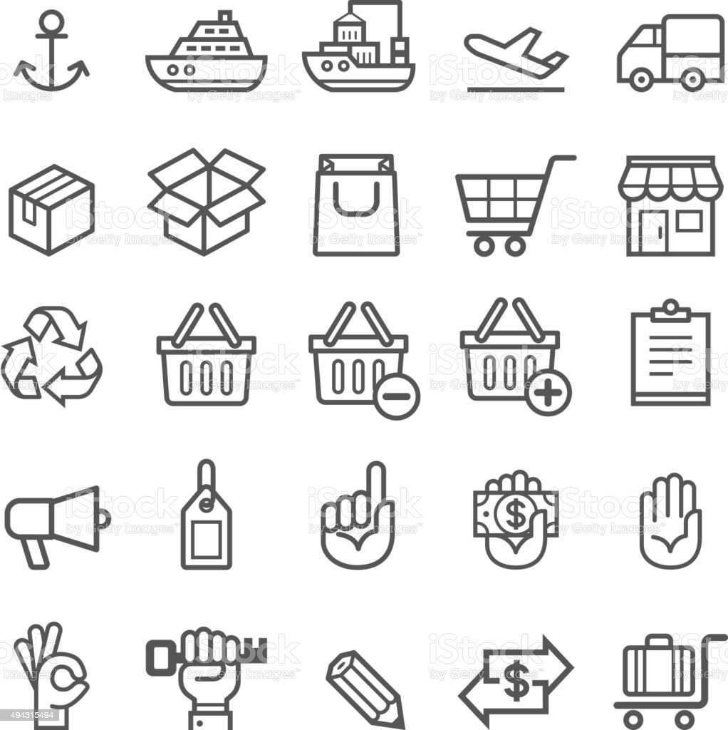 Business transportation element icons. vector art illustration
