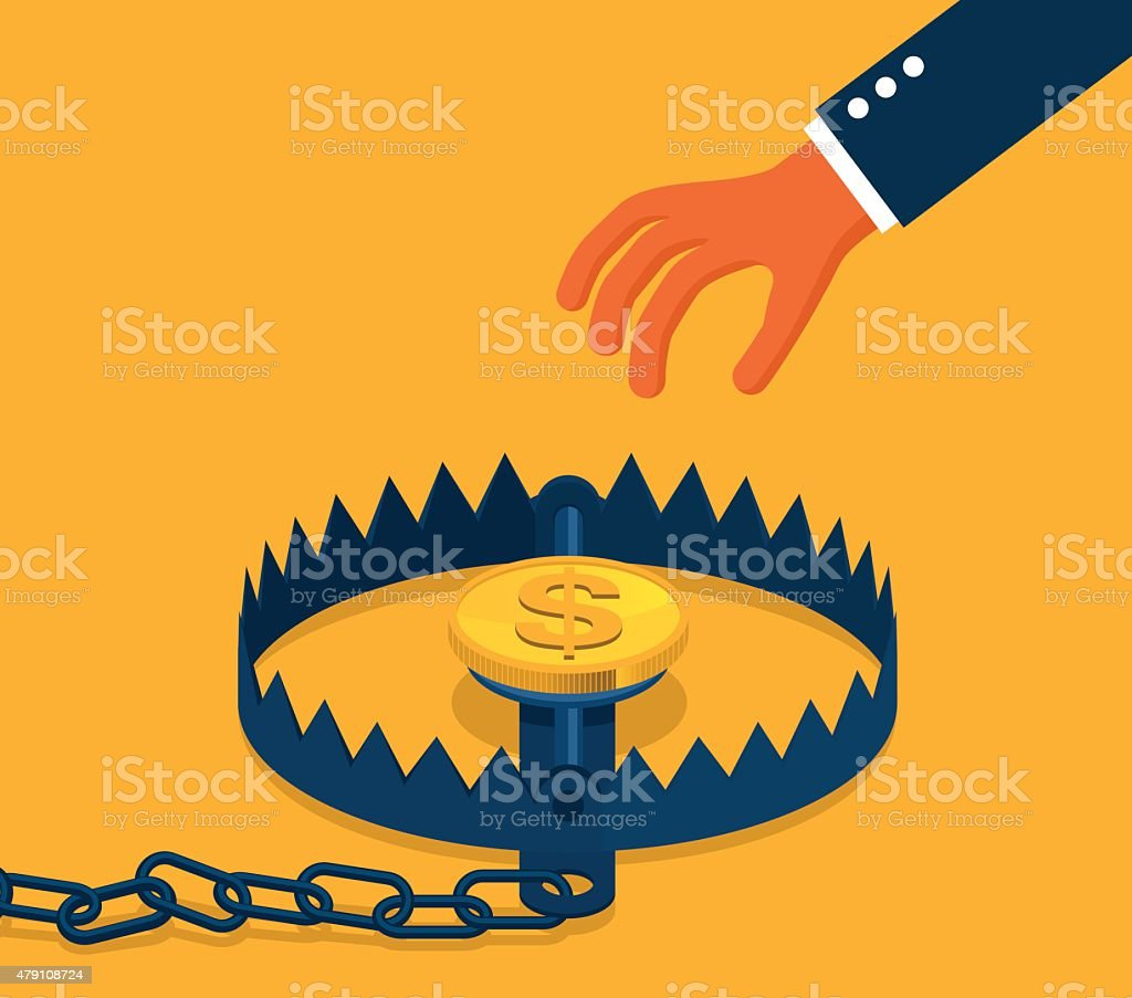 Business trap with hand and coin vector art illustration