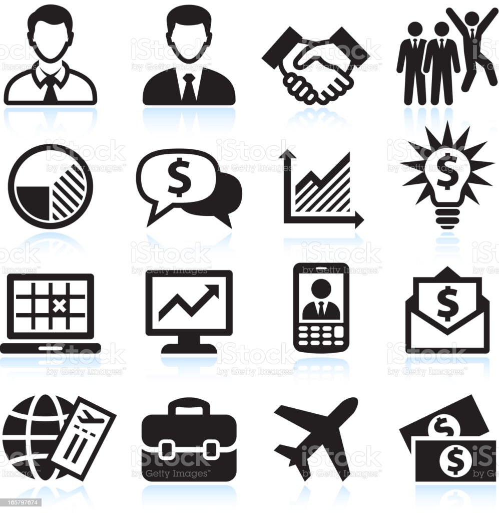 Business Travel and corporate presentation black & white icon set royalty-free stock vector art