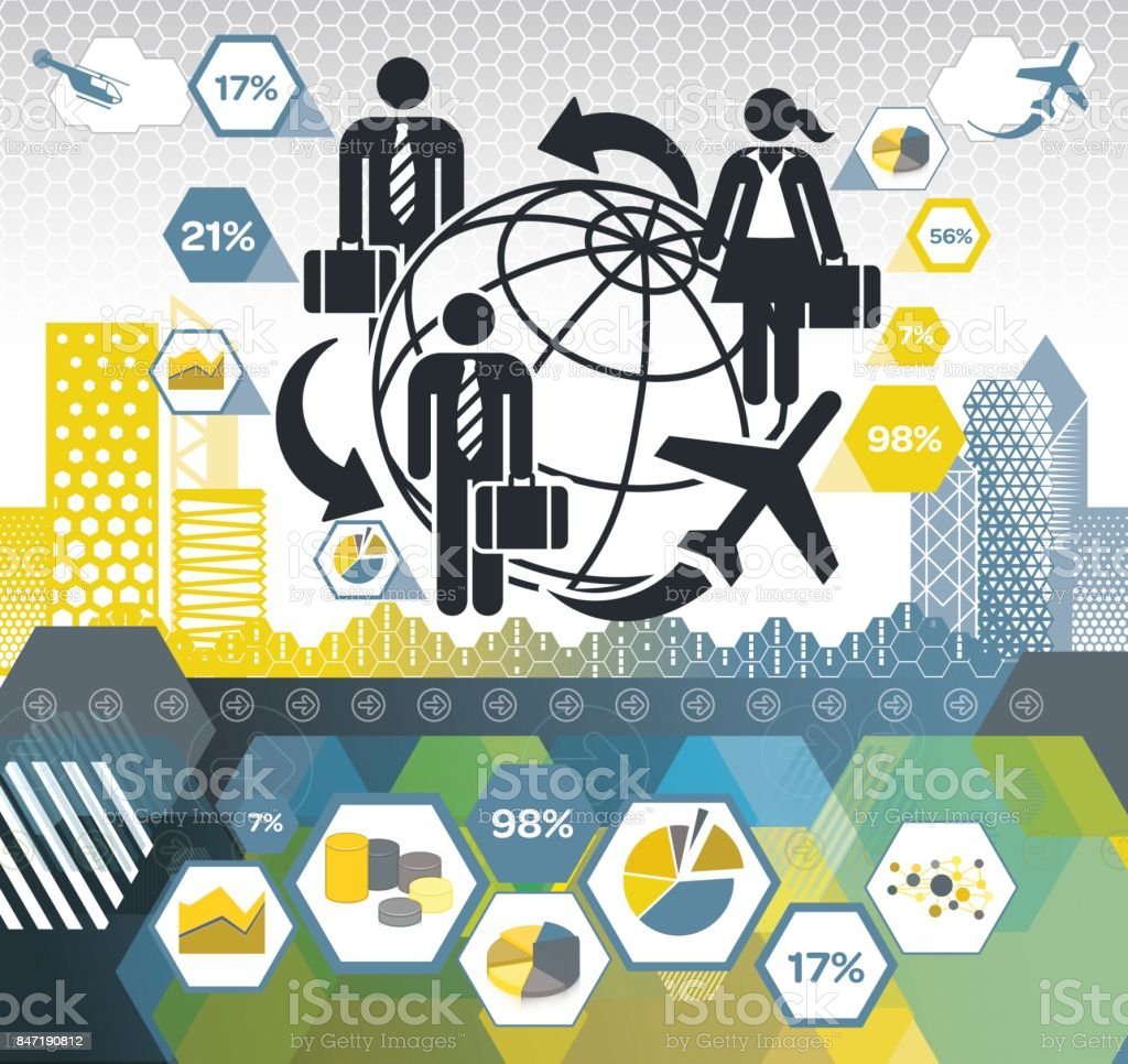 Business Travel Connections vector art illustration