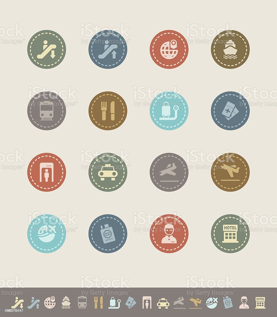 business travel icons vector art illustration