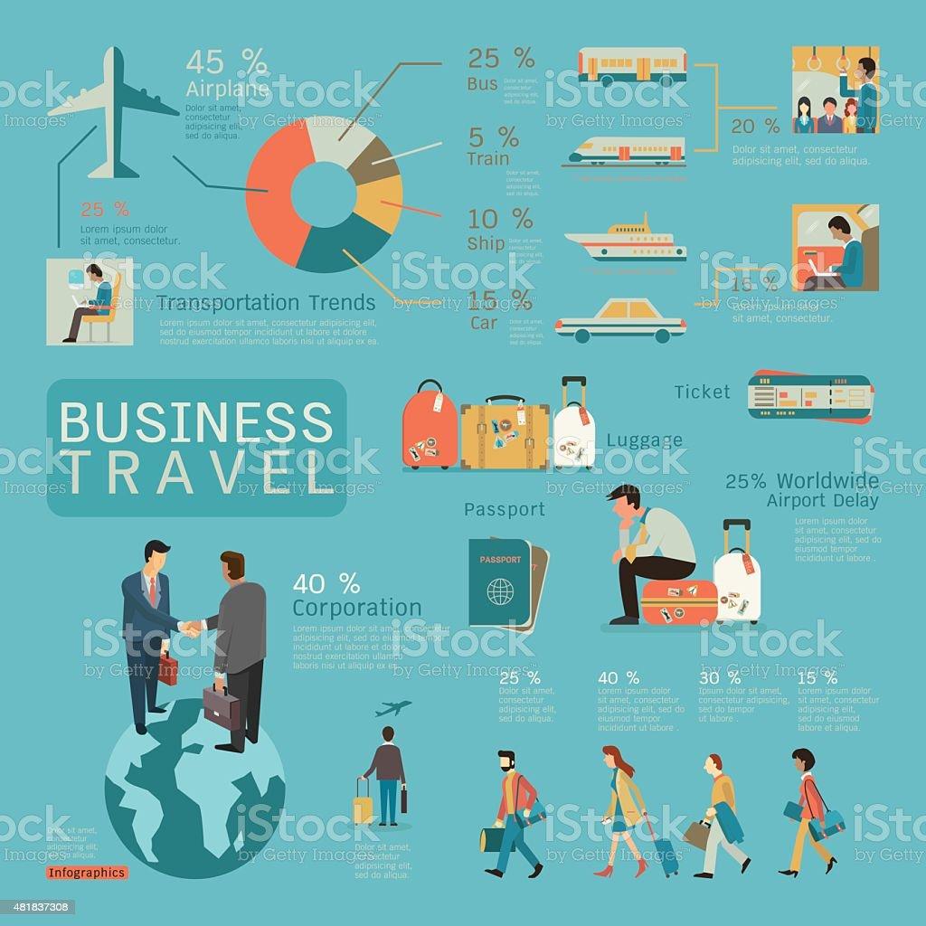 Business travel infographics vector art illustration