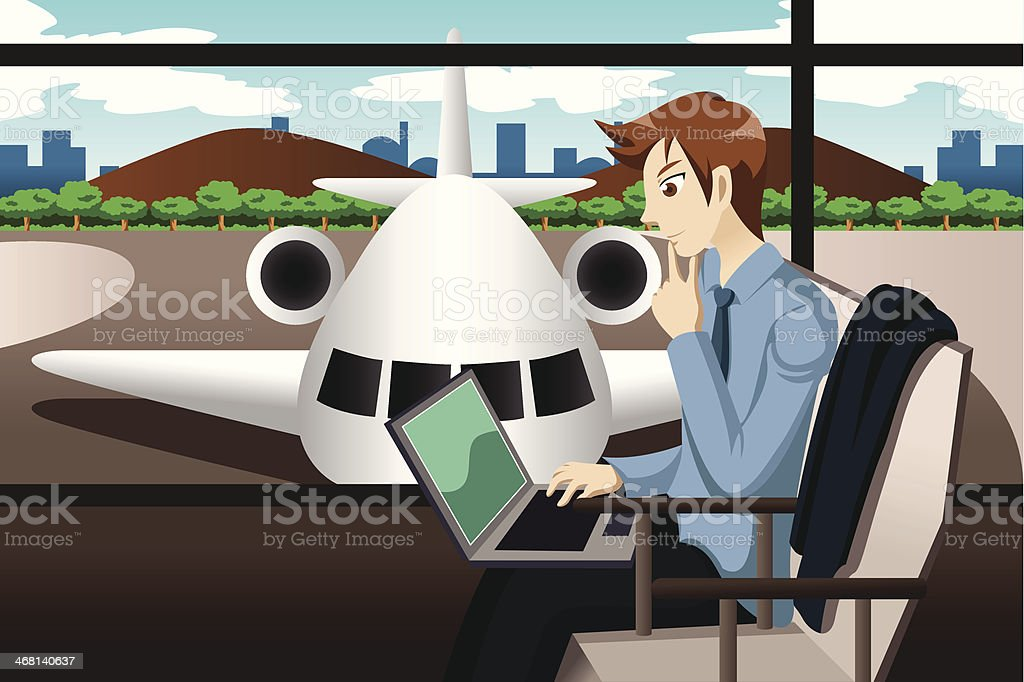 Business traveler waiting in the airport royalty-free stock vector art