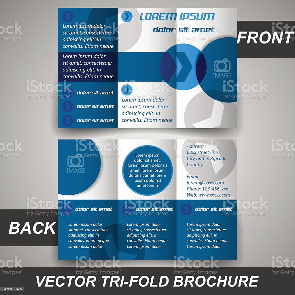 Business tri fold flyer template or corporate banner vector art illustration