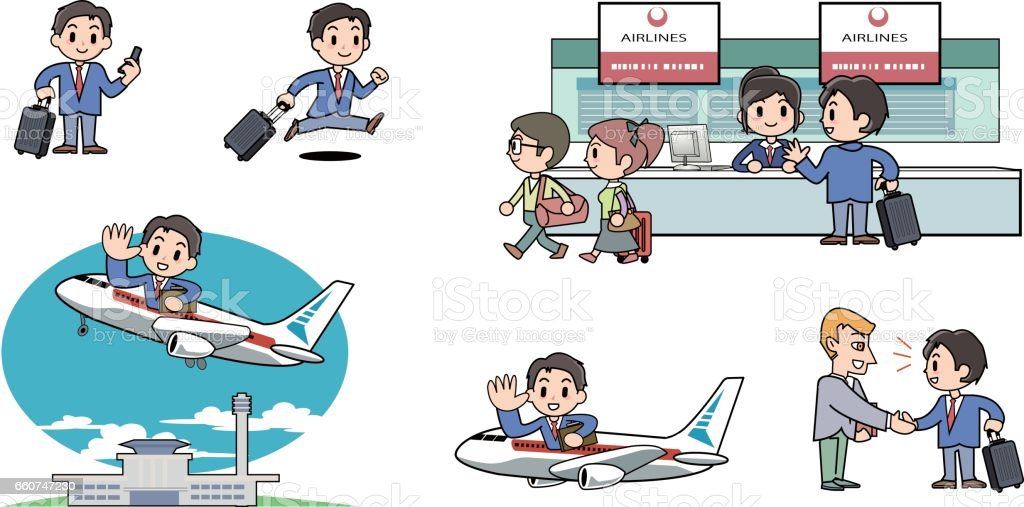 Business trips abroad vector art illustration