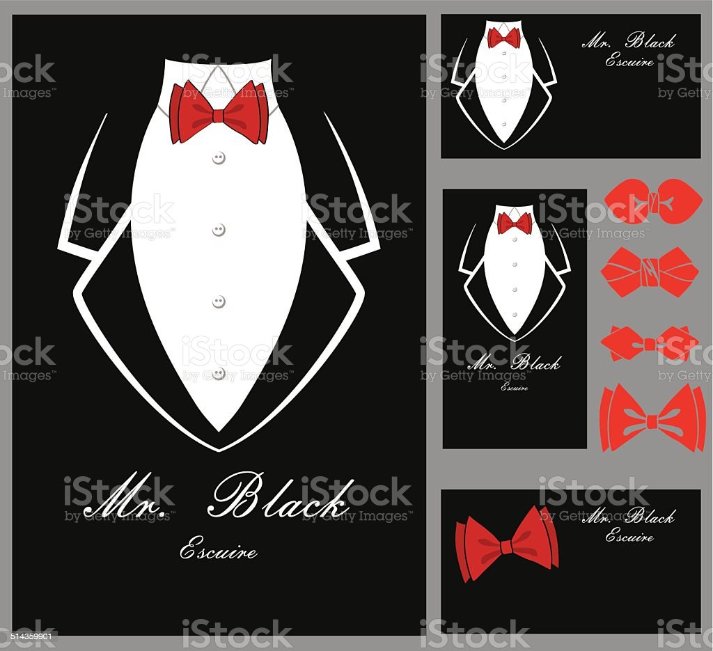 Business tuxedo background with a red bow tie vector art illustration