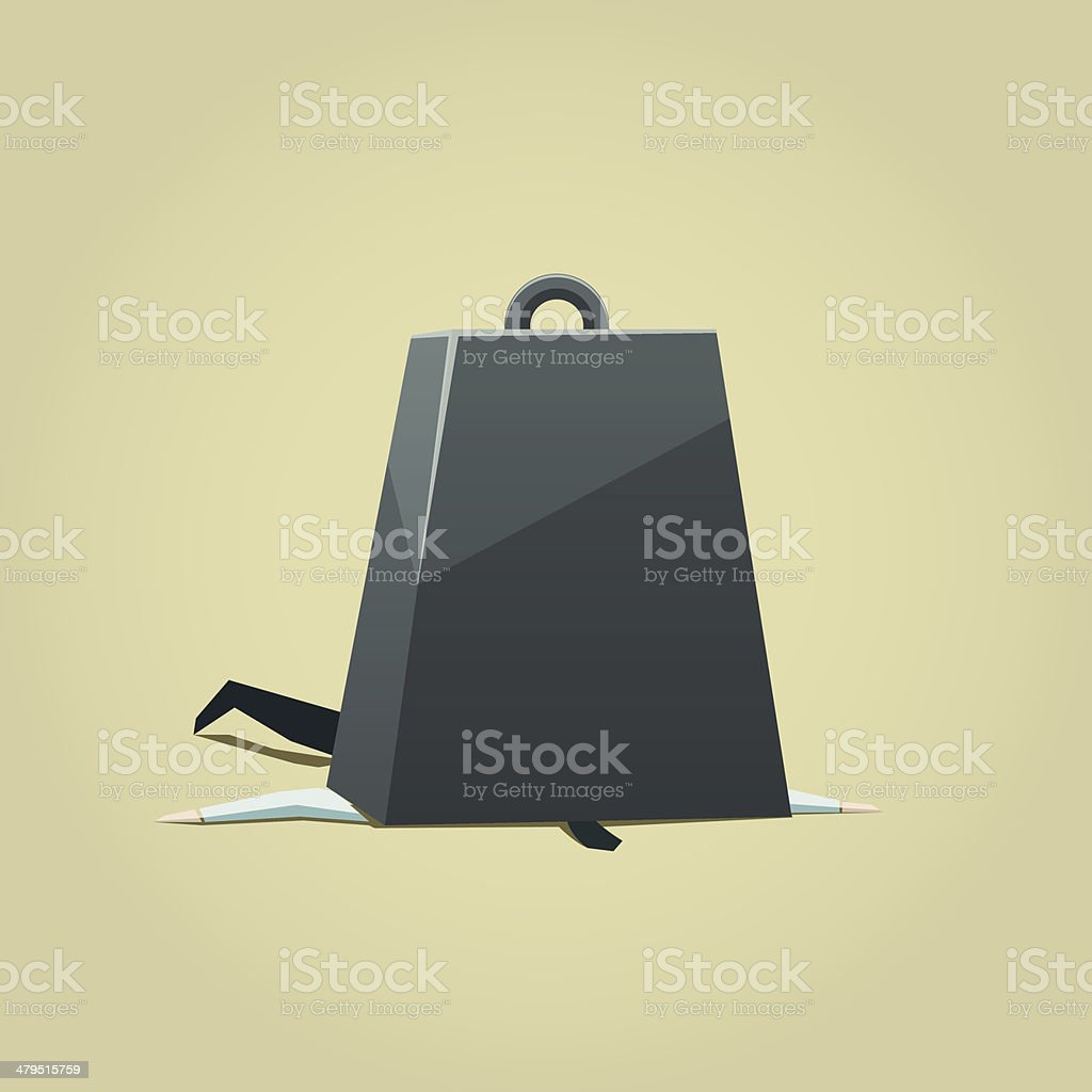 Business under burden vector art illustration