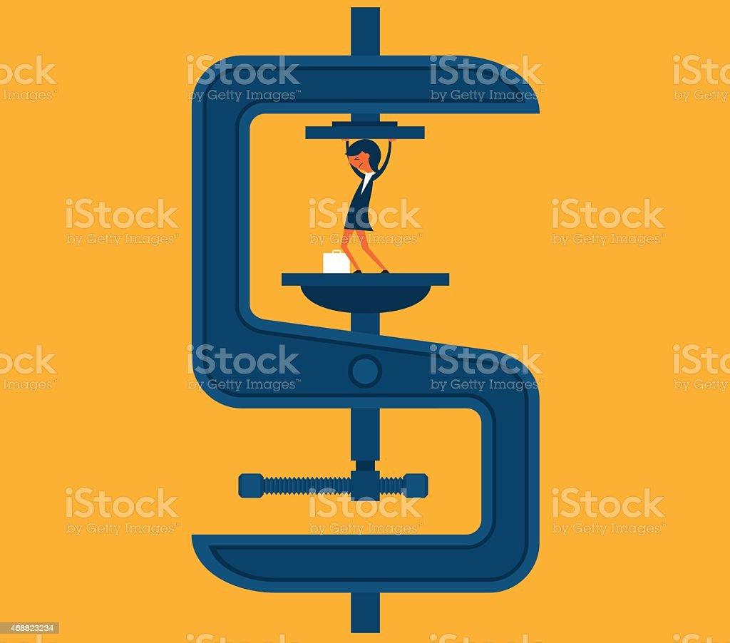 Business under pressure vector art illustration