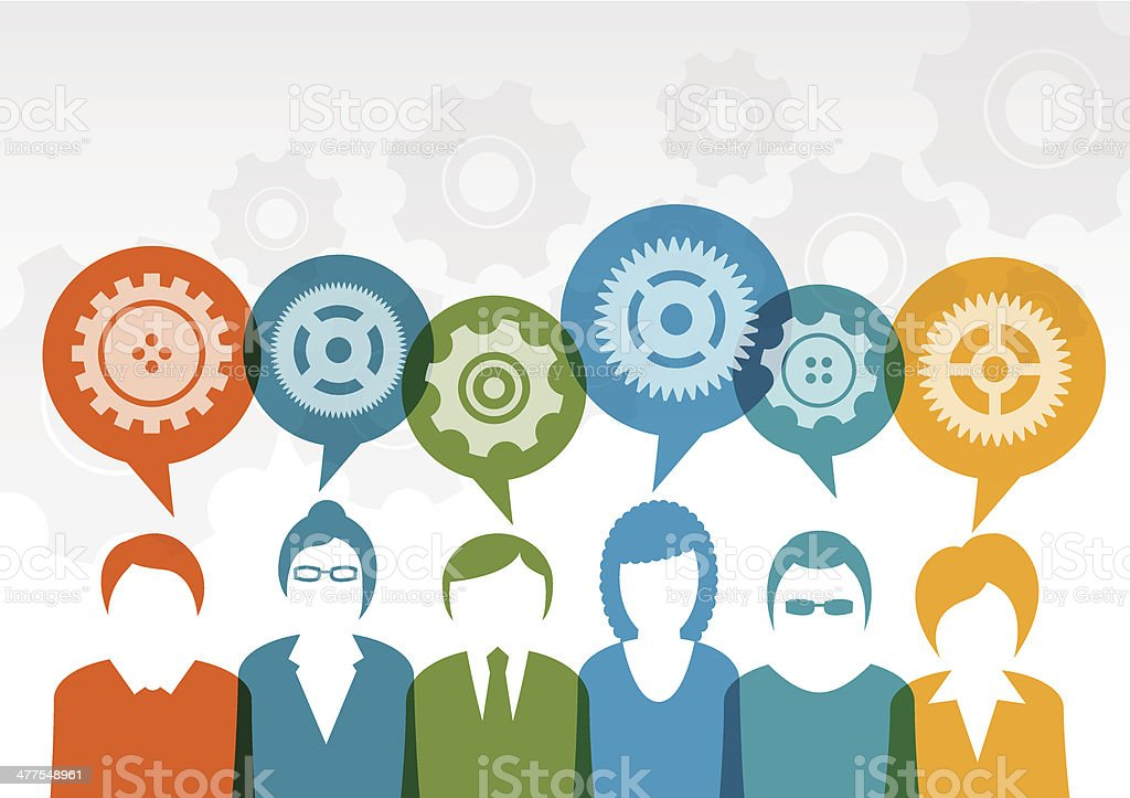 Business  users chatting vector art illustration