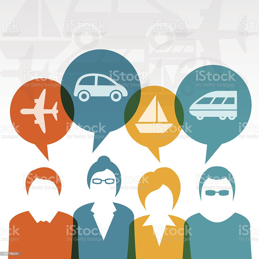 Business users with transportation icons vector art illustration