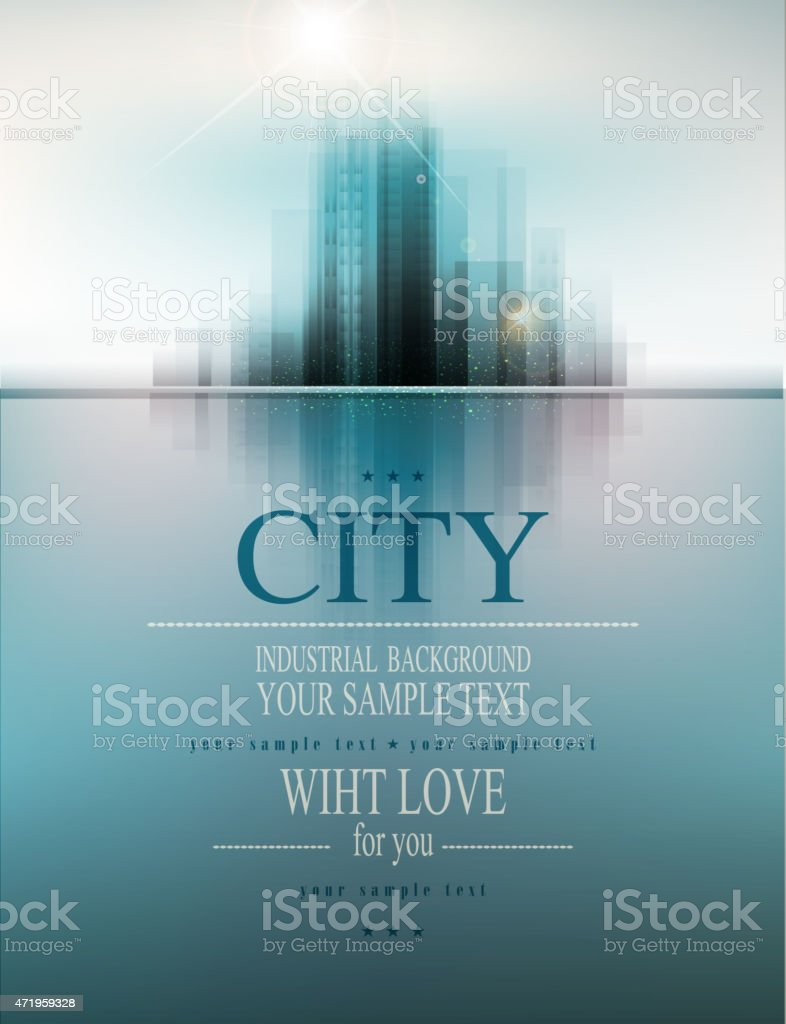 A business vector banner with a city landscape reflection vector art illustration