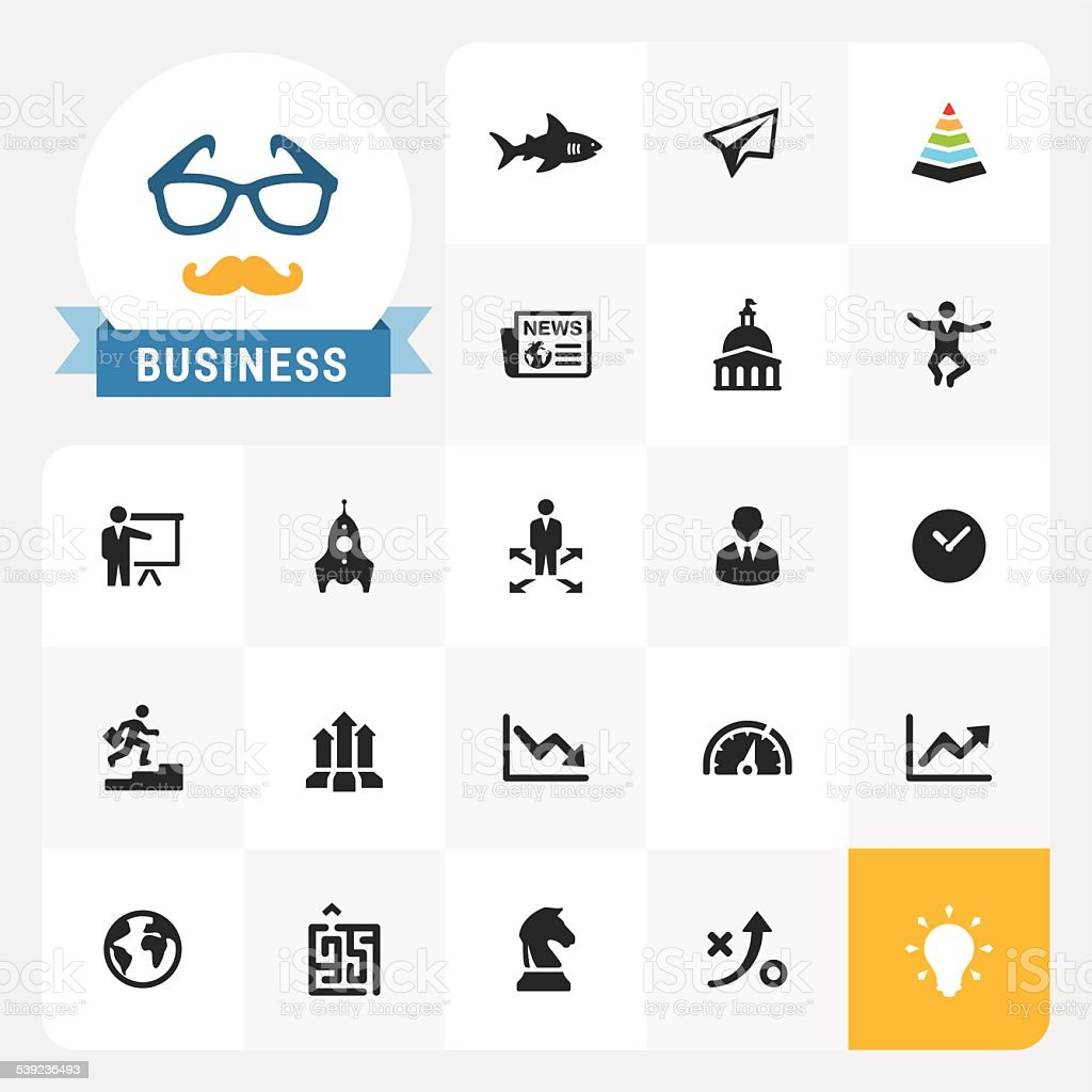 Business vector icons and label vector art illustration