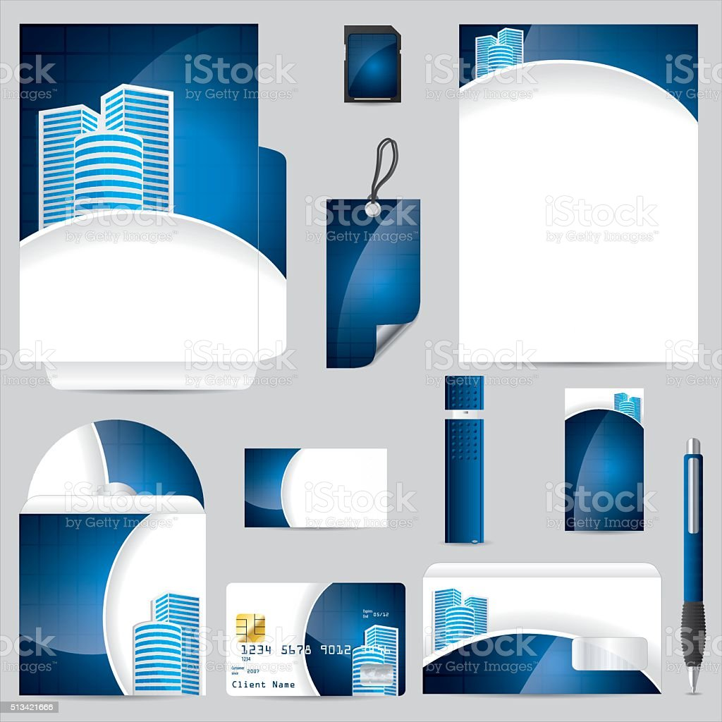 Business vector set in blue vector art illustration