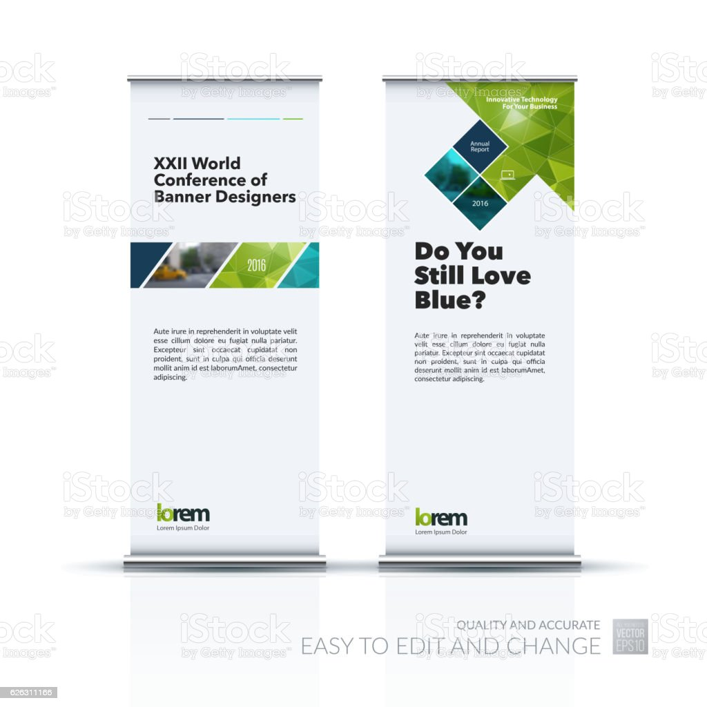 Business vector set of modern roll Up Banner stand design vector art illustration