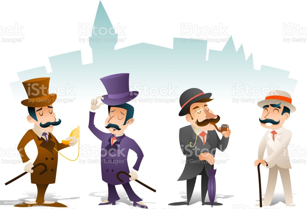 Business Victorian Gentleman Meeting Cartoon Character Icon Set English Great vector art illustration