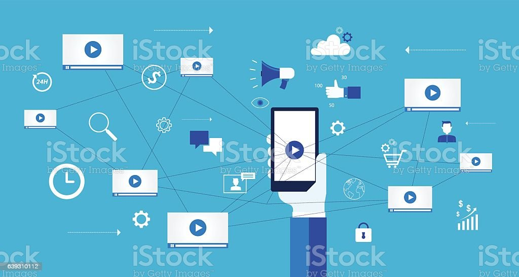 business video marketing content online concept and digital marketing content vector art illustration