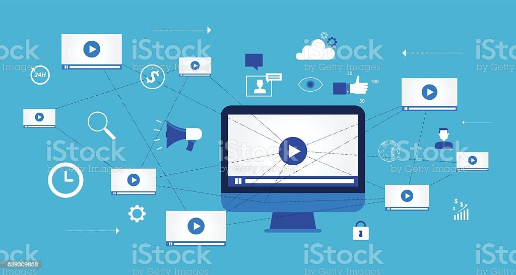 business video marketing content online concept vector art illustration