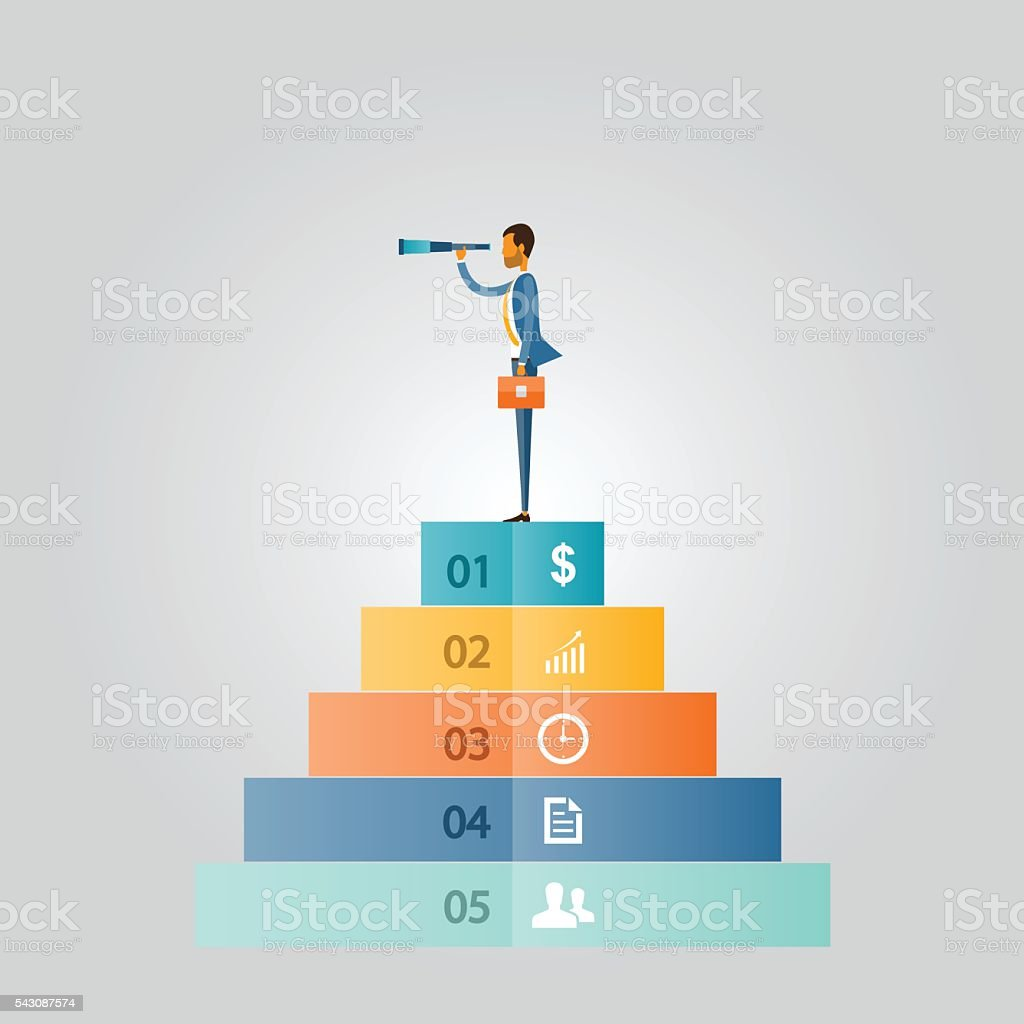 business vision concept, business man standing on money and business leader vector art illustration