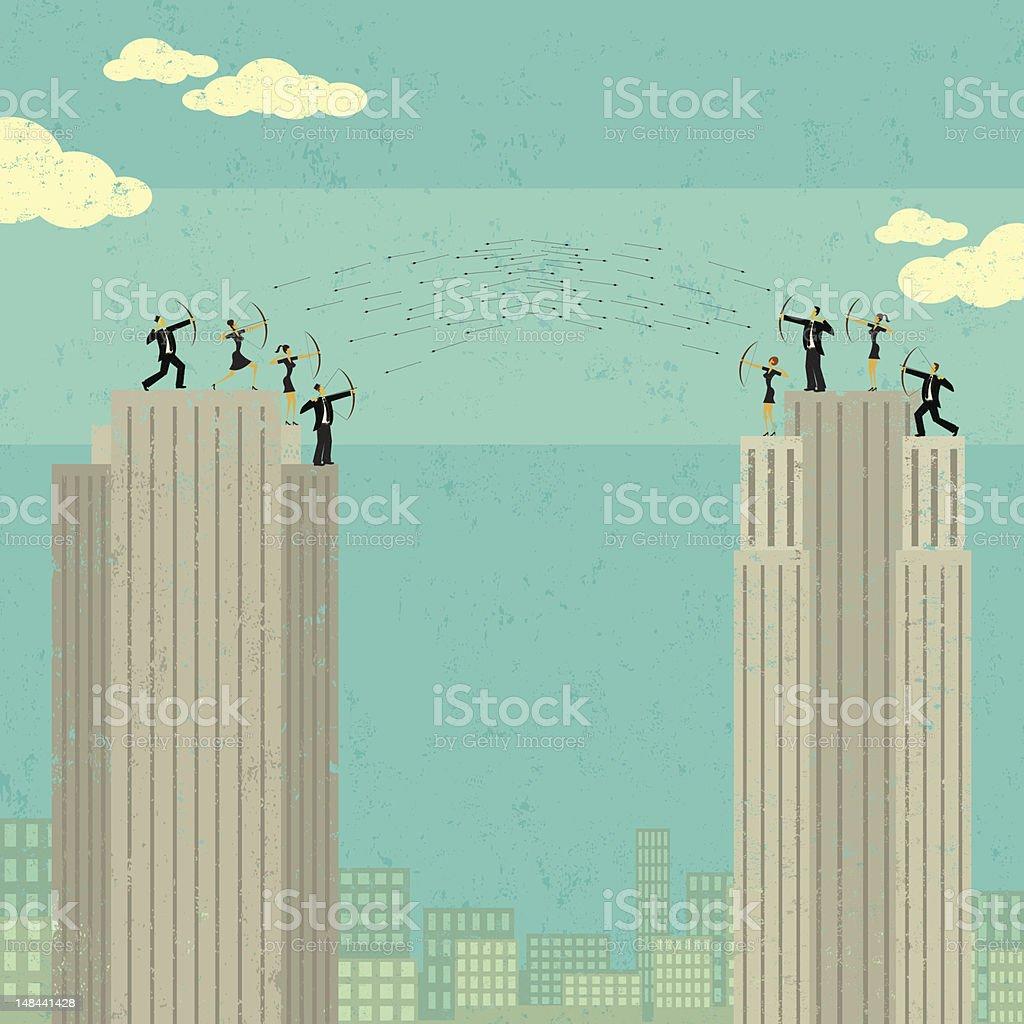 Business War vector art illustration