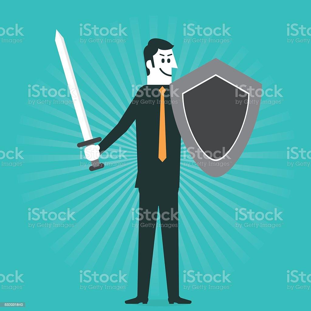 Business warrior vector art illustration