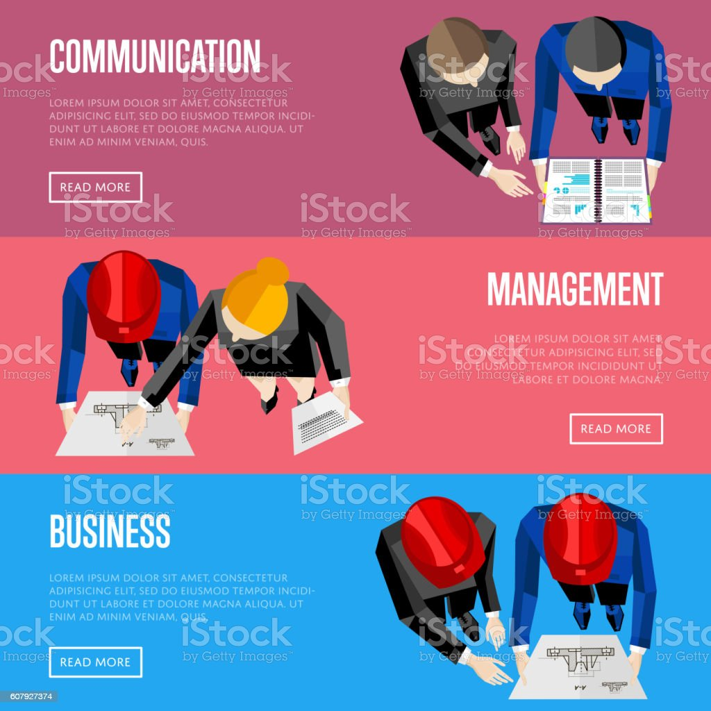Business website templates. Top view of architects vector art illustration