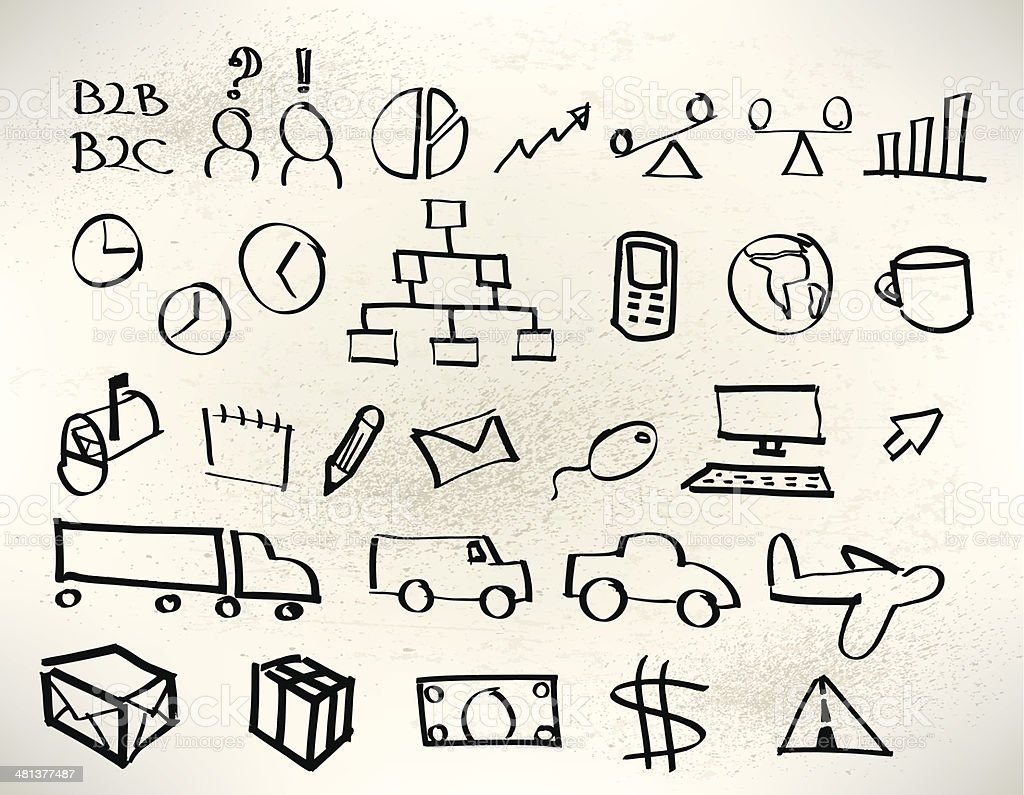 Business Whiteboard Drawings - Logistics, Transportation vector art illustration
