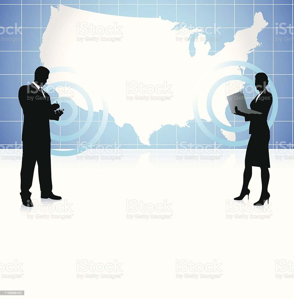 Business Wireless Communication On Us Map Background Stock Vector - Us map business