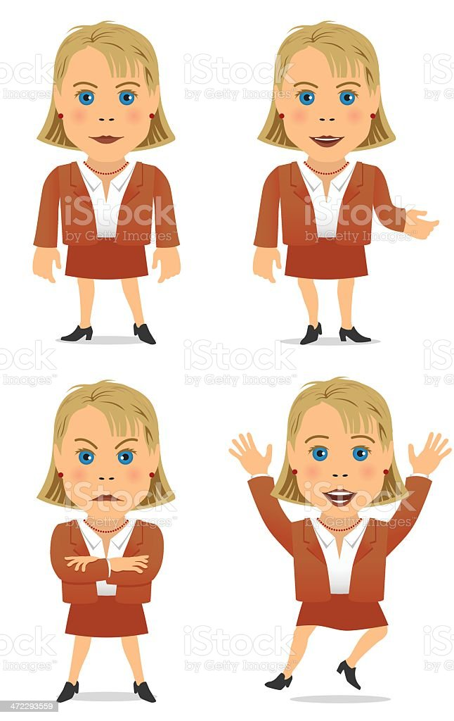 Business Woman 1, four poses royalty-free stock vector art