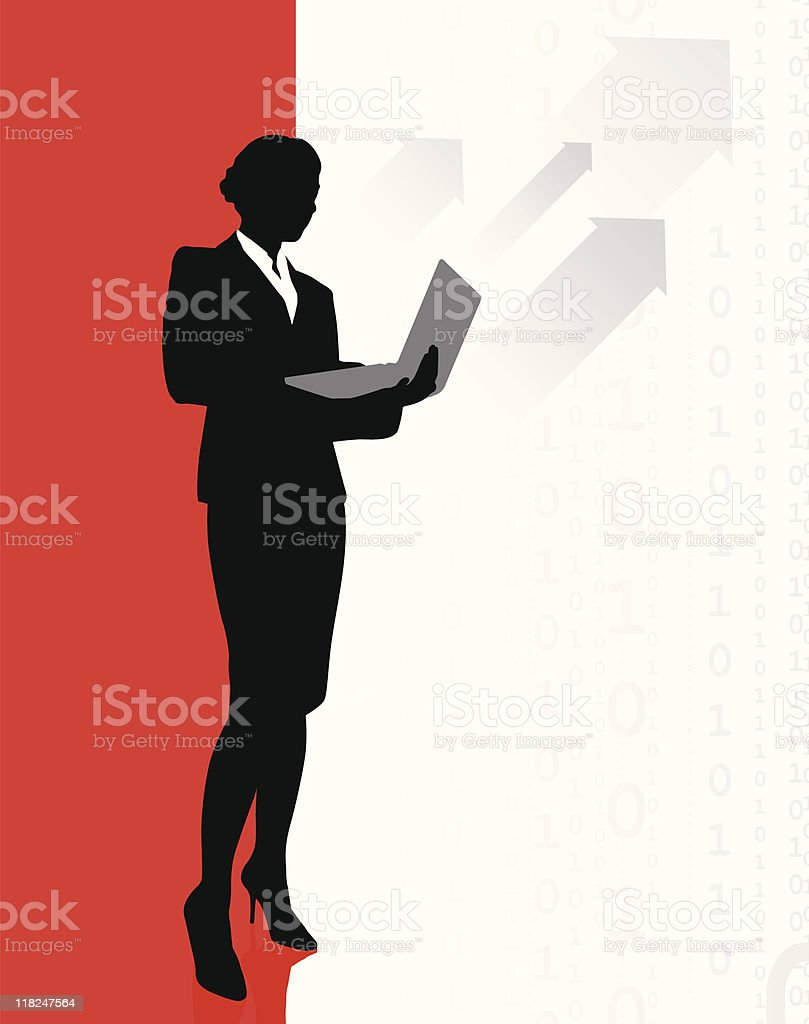 Business woman accessing internet on laptop royalty-free stock vector art